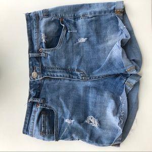 Aeropostale medium wash jean shorts